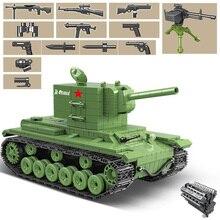 818 Uds. Tanque de bloques de construcción militar soviético Rusia KV 2 Heavy City WW2 soldado policía arma ladrillos juguetes regalos para niños