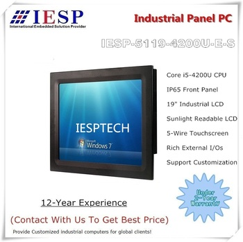19 inch Sunlight readable panel PC, Core i5-4200U CPU, 4GB RAM,500GB HDD, customized industrial panel pc