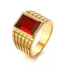 Классические мужские кольца с крупными красными кристаллами