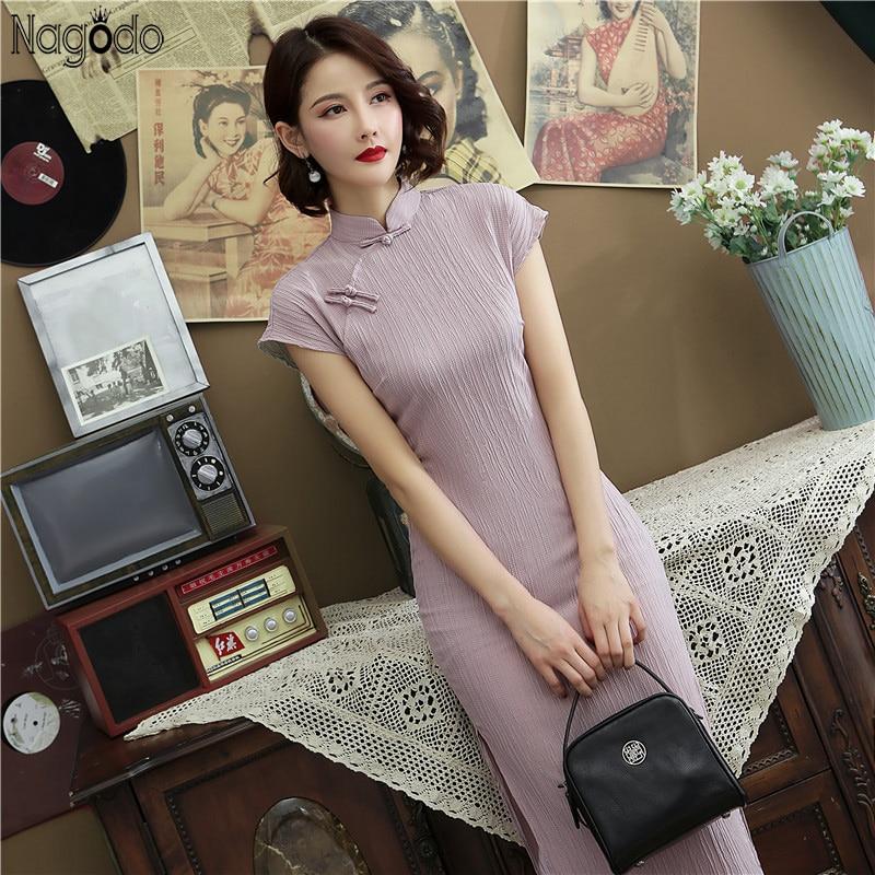 Nagodo Cheongsam Modern 2020 Spring Summer Cotton Elastic Chinese Style Long Cheongsam Qipao Slim Split Oriental Vestidos