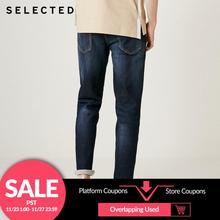 Wybrane męskie spodnie jeansowe jesień i zima bawełniane ubrania lekkie Stretch blaknięcie proste spodnie dżinsowe C
