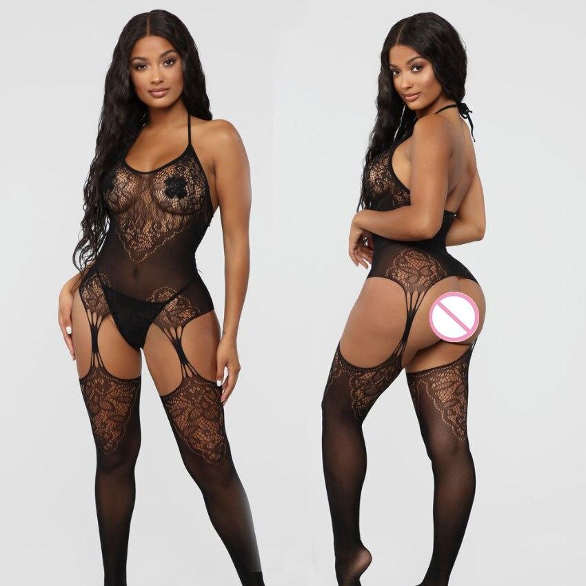 H4570051c36e54453ae08c72051648618V Lencería Sexy de talla grande para mujer, lencería abierta en la entrepierna, picardías transparente, disfraces eróticos, ropa de dormir erótica