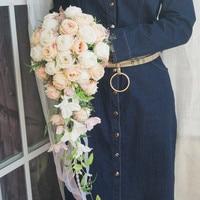 2019 Artificial Waterfall Bridal Boquet Peonies Flowers Rustic Bride Buket Vintage Cascading Wedding Bouquet