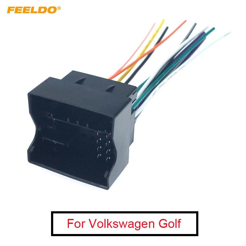 FEELDO-harnais de fil pour autoradio   Autoradio, Interface stéréo, pour Volkswagen Golf 7 Sokda, installation de CD/DVD après-vente, 1 pièce