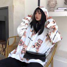 Fashion Cute Girls Bear Print Sweatshirts Loose Tracksuit Hoodies