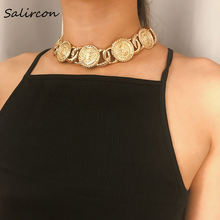 Salircon Personality Vintage Hot Chunky Chain Necklace Gold Silver Alloy Geometric Curb Cuban Link Collar Necklace Band Ladies elegant triangle alloy shirt collar tips necklace silver