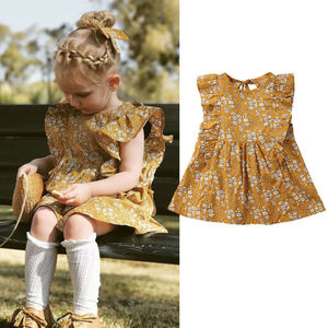 Newborn Infant Baby Girls Floral Dresses Sleeveless Fashion Summer Dress Vintage Ruffles Sundress 0-4Y
