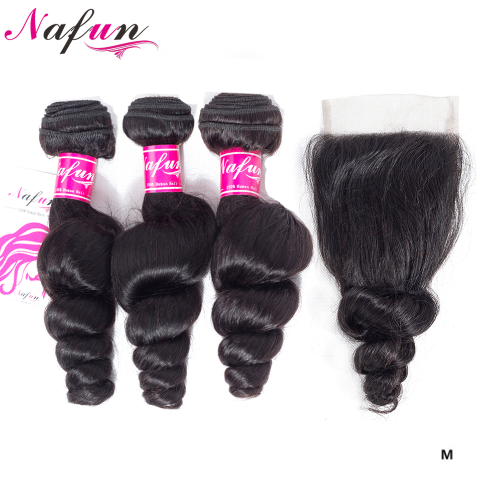 Human Hair Bundles With Closure Loose Wave Brazilian Hair Weave Bundles Hair Vendors Wholesale Price Non-Remy Hair Extensions