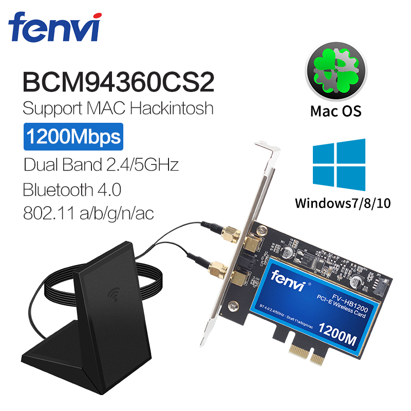 1200Mbps PCI Wifi Adapter Wireless-AC Lan Network Card For Broadcom BCM94360CS With Bluetooth4.0 802.11ac For Hackintosh Mac OS
