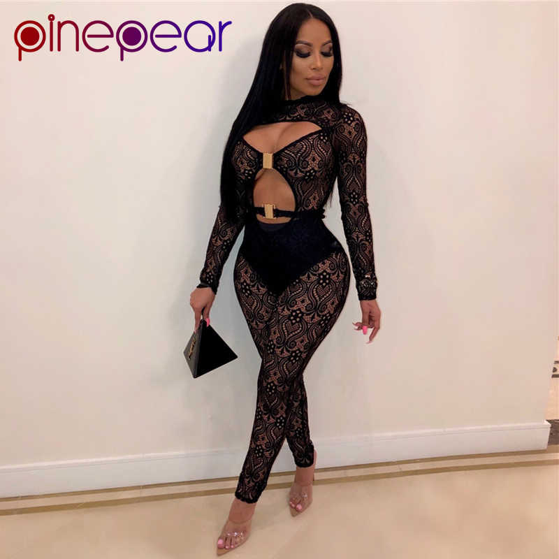 PinePear Lace See Through Hollow Out Buckle Jumpsuit 2 Piece Set 2020 Women Long Sleeve Sexy Club Wear Drop Shipping Wholesale