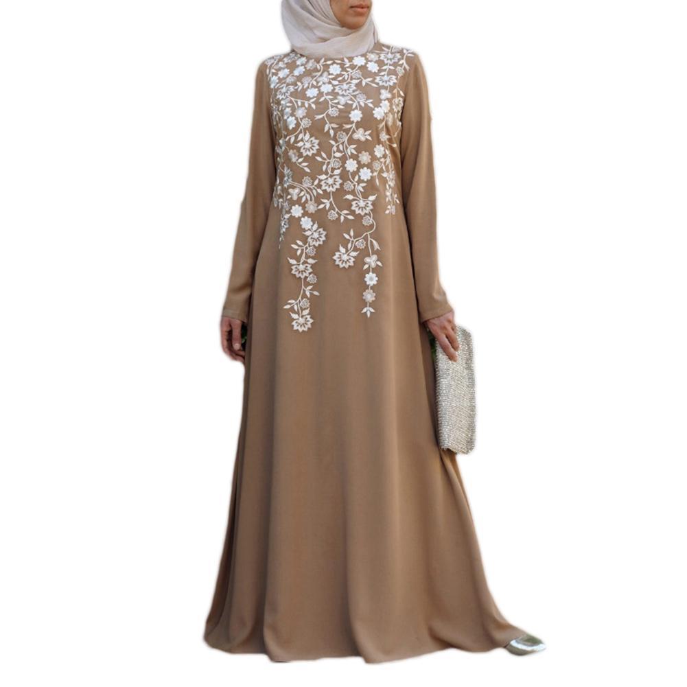 Women Floral Print Embroider Ethnic Style Long Sleeve Muslim Maxi Dress Kaftan 2020 New Fashion Womens Wear