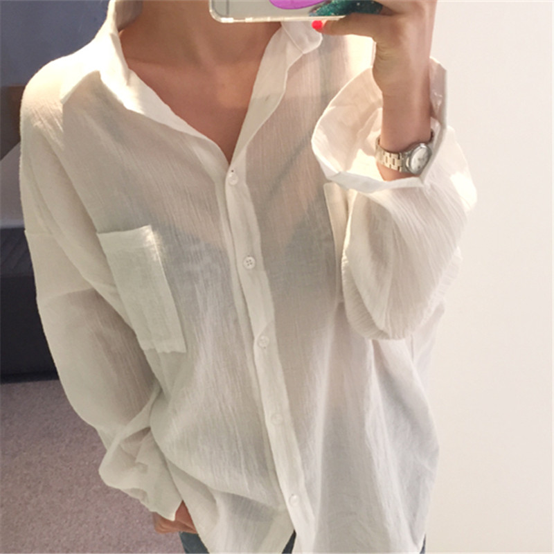 White shirt female Korean style loose retro double pockets blouses 2020 autumn new long sleeve vintage tops for women
