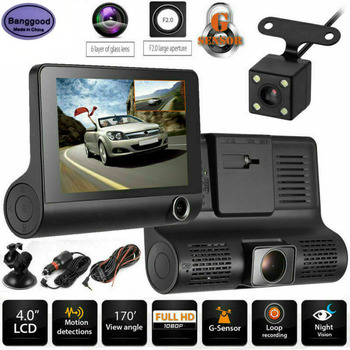 Banggood E33 4-Inch Car Dash Camera LCD High Definition 1080P 32GB 3 Lens Vehicle DVR Driving Video Recorder Rearview Dashcamera image