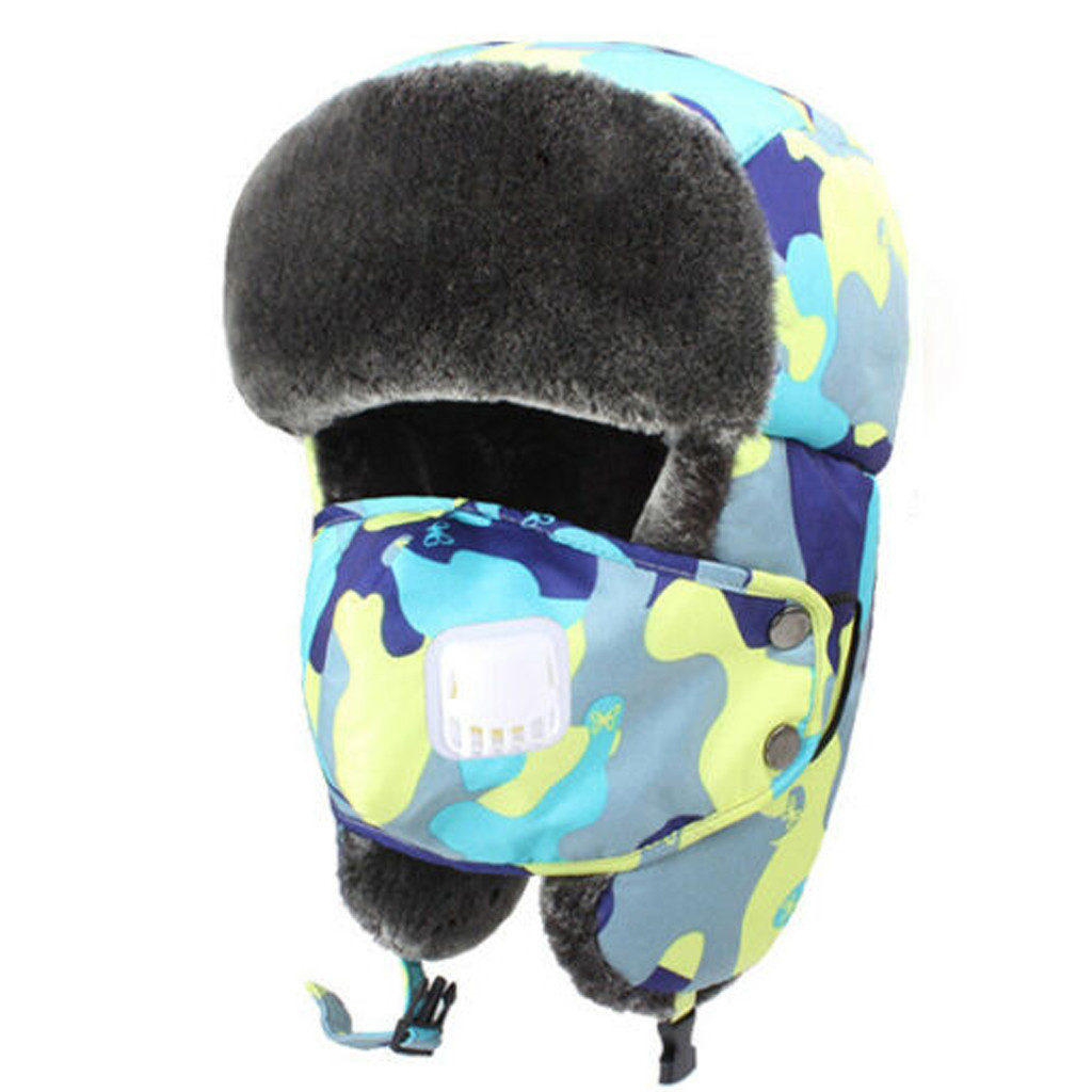 Children Winter Hats For Kids Boys Girls Russian Trapper Hat Thicken Warm Balaclava Face Mask Ski Scarf Cap #35