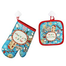 Microwave Gloves Insulation Pad Oven Baking Gloves Heat Resistant Oven Mitts Christmas Baking-2 PCS/Set microwave oven baking tray cold rolled plate porcelain veneer insulation half hour kitchen baking kitchenware wholesale