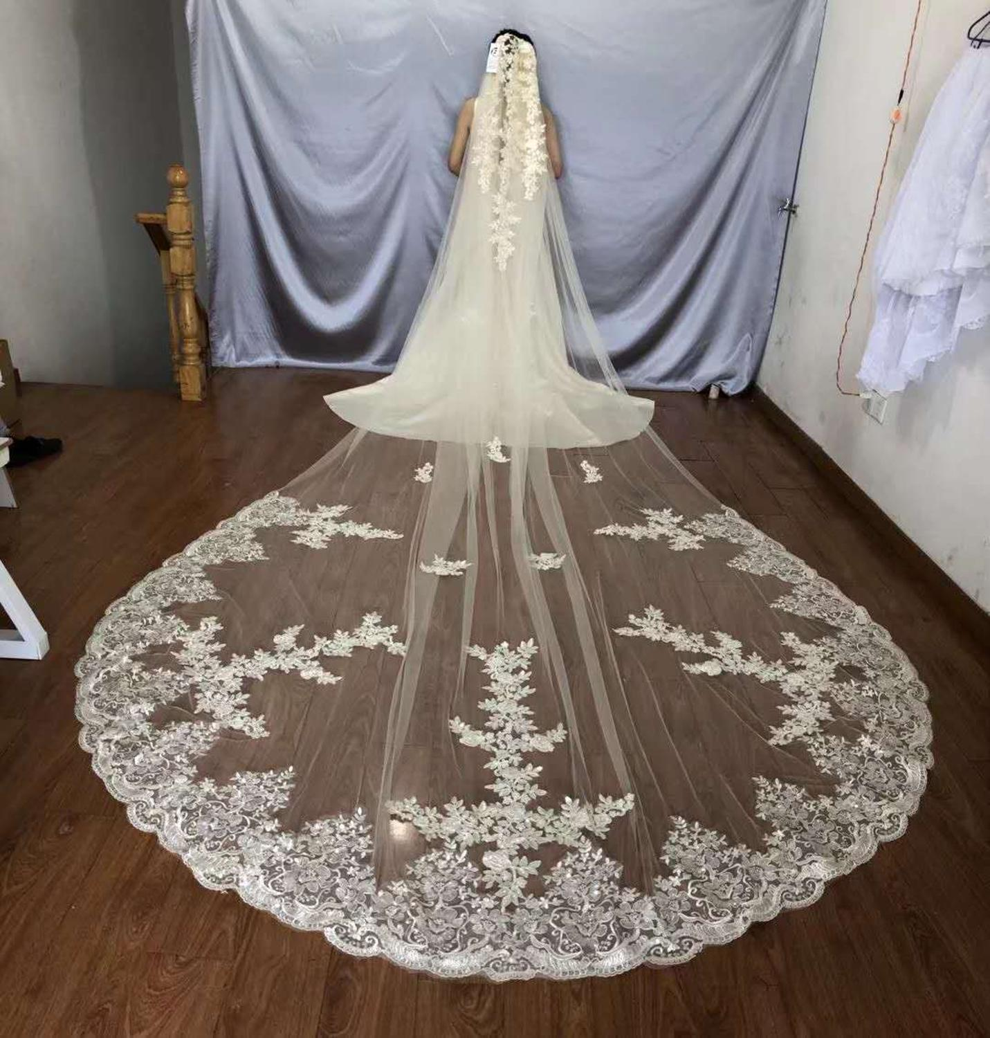 Real Photos 5M Long Wedding Veils With Comb One Layers Soft Tulle Lace Appliqued Sequins Bridal Veil White Ivory