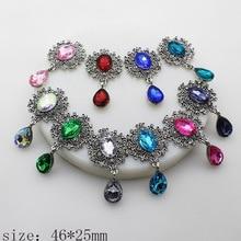 Nuevo broche de espalda plana de diamantes de imitación de plata Retro 46*25mm 10 unids/lote accesorios de ropa de correas Producción de decoración de boda