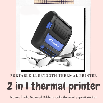 2 in 1 Portable Thermal Receipt & Label Printer Bluetooth work with android and ios system support pos to print receipt milestone portable thermal printer bluetooth receipt bill 58mm 2 inch mini pos wireless windows android ios mobile pocket p10
