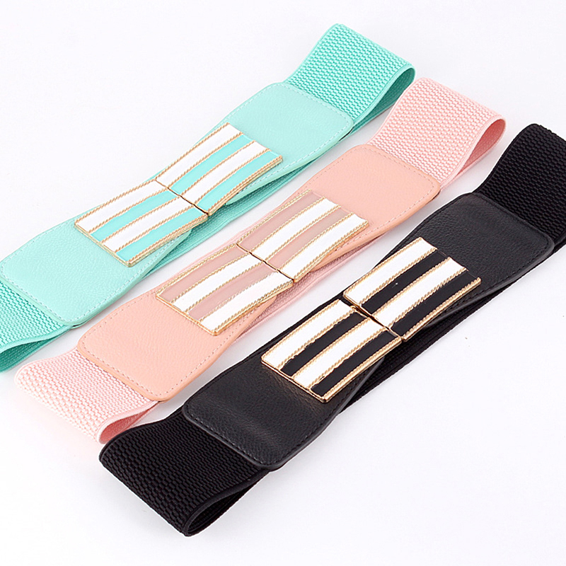 Women Wide Elastic Waist Belt Dress Accessories Stretch Wide Corset Waist Metal Buckle Candy Color Female Waistband Cummerbund