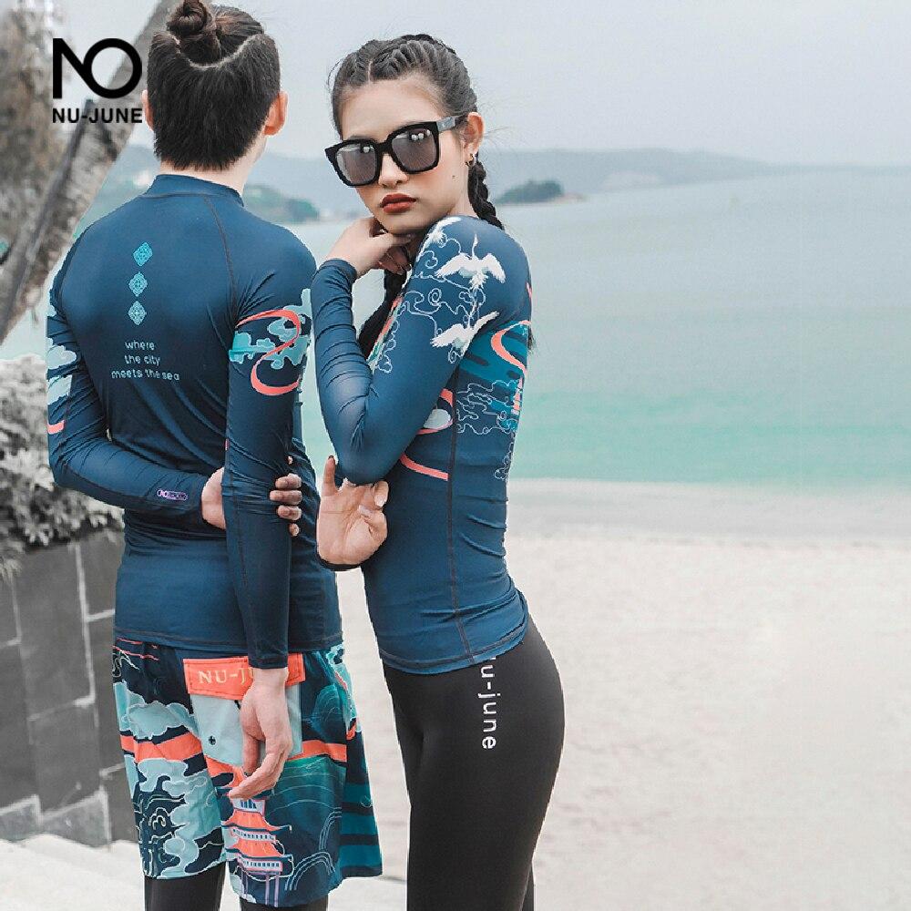 Nu-June женский и мужской Рашгард одежда для плавания длинный рукав Рашгард Топ для серфинга два предмета для влюбленных купальный костюм для ...