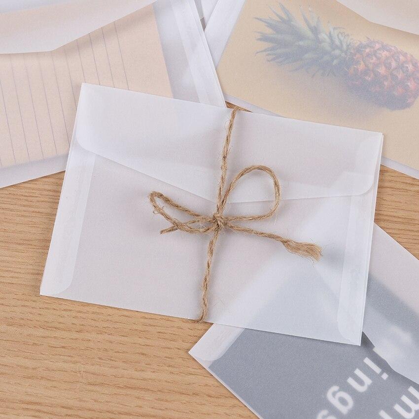 10 pces cartão de papel branco em branco translúcido envelope cartões convites cobrir envelopes embalagem do presente do cartão