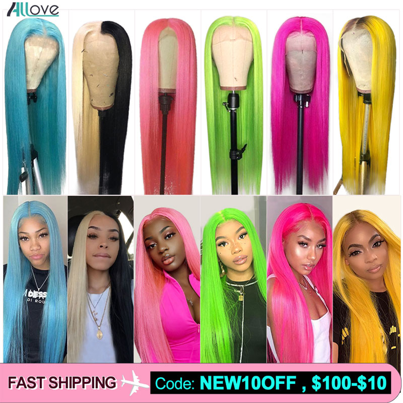 Allove Green Human Hair Wigs Brazilian Yellow Straight Hair Wig Lace Front Human Hair Wigs Pink Light Blue Ombre Human Hair Wig