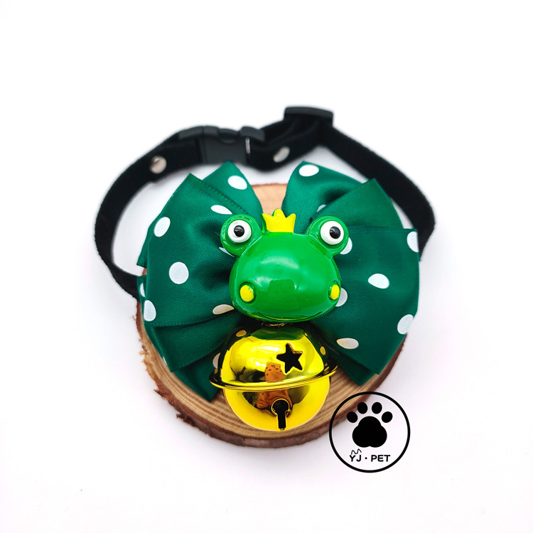Pet Dog Tie Cute Frog Bowtie Cat Bow Bell Neck Ring Neck Decorations