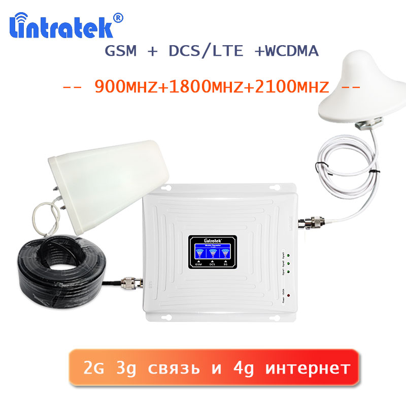 Lintratek 2g 3g 4g Signal Booster Gsm Lte 4g Internet Signal Amplifier 900 1800 2100 Wcdma Umts 2g 3g Call Telephone Repeater