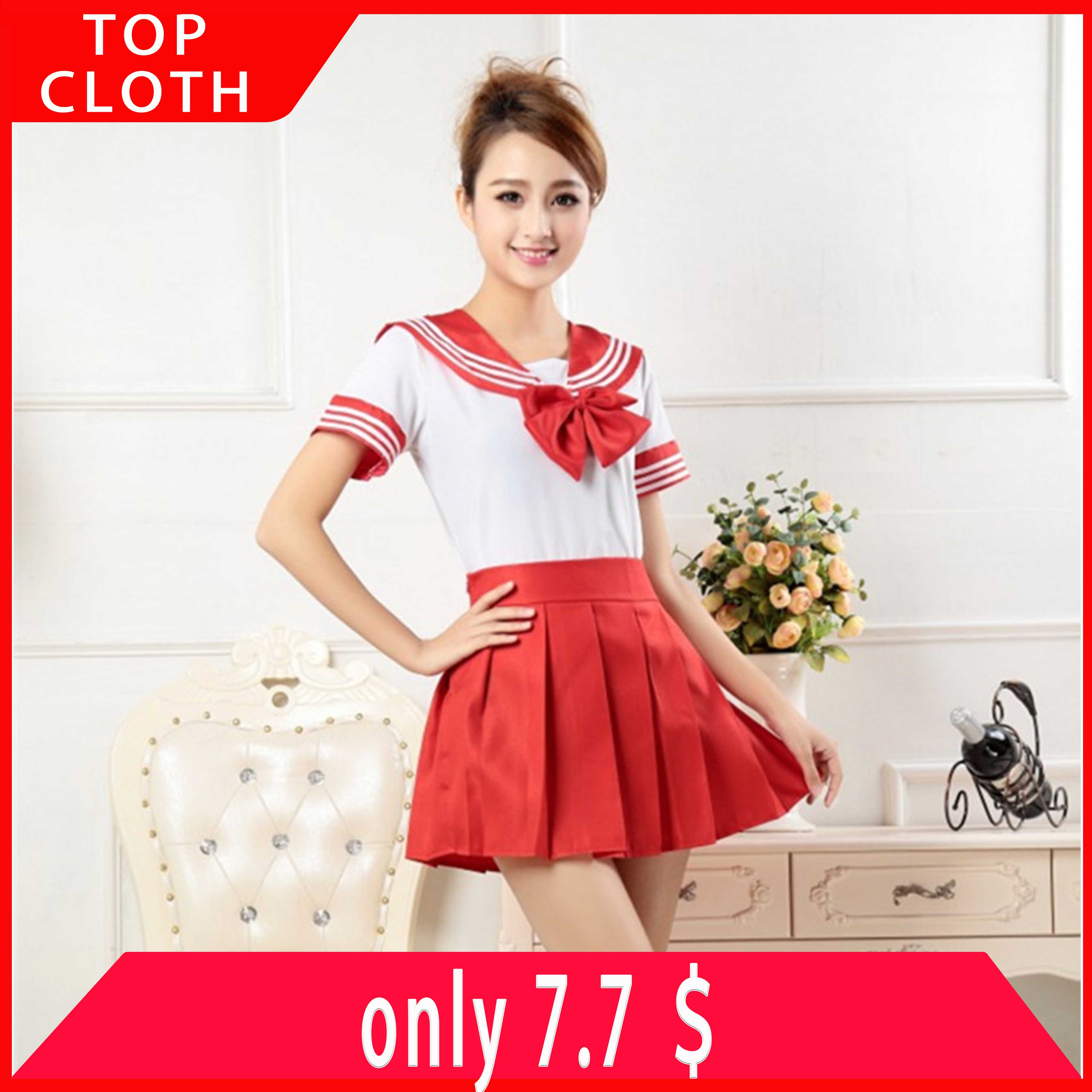 7color Japanese Cheap JK Suit Woman School Uniform High School Sailor Cosplay Party Costumes Student Girls Fancy Pleated Skirt