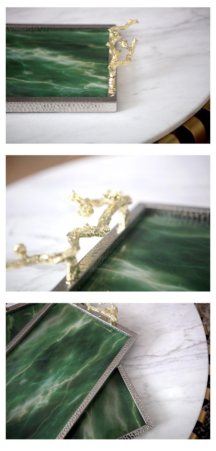 Plateau créatif rectangulaire en pierre d'agate verte | Plateau de Texture, ornement de luxe, plateau de rangement de Table en marbre, plateau de service - 5