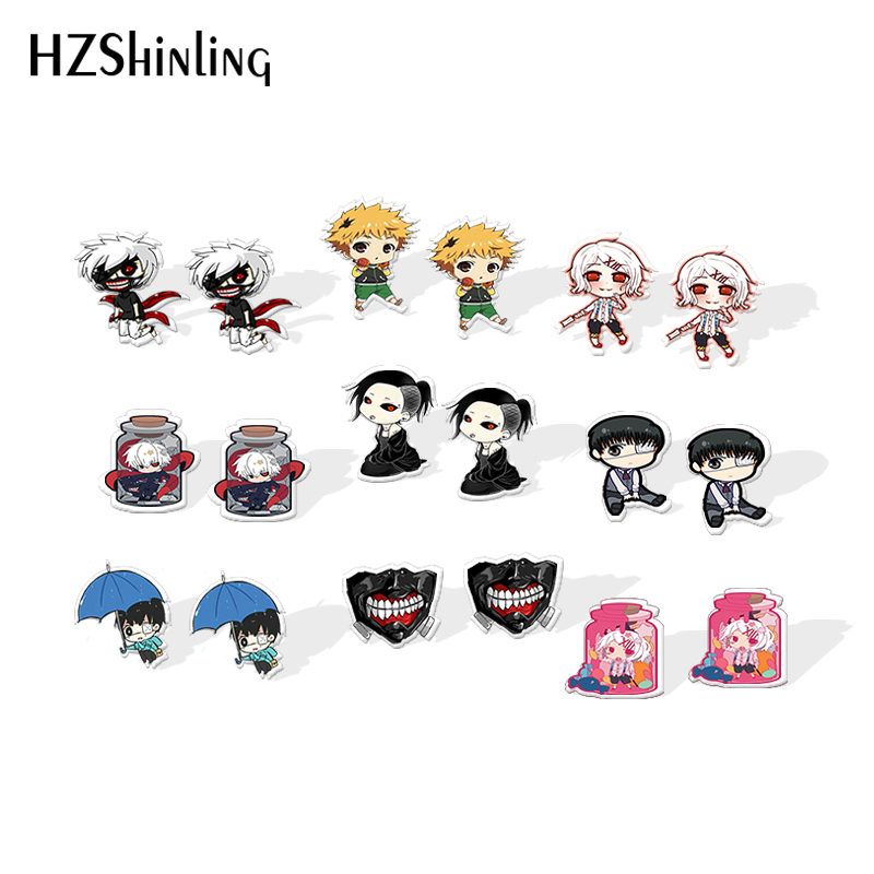 2019 New Tokyo Ghoul Kaneki Ken Earring Silver Color Shrinky Dinks Earring Anime Epoxy Stud Acrylic Earrings