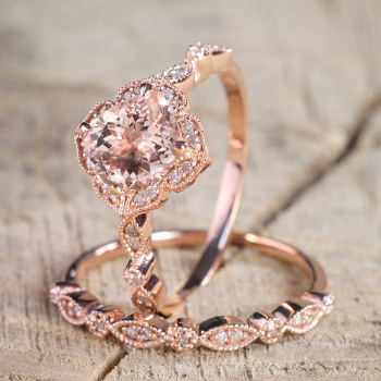 CHAMSS Rose Gold Square Engagement Ring Elegant Temperament Feminine Valentine Gift 2