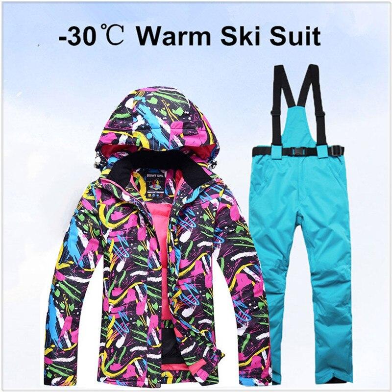 2018 nouvelle équipe de Ski femmes imperméable veste d'hiver + pantalons costumes épaissir les femmes pour les skis femmes neige snowboard ensembles de respiration