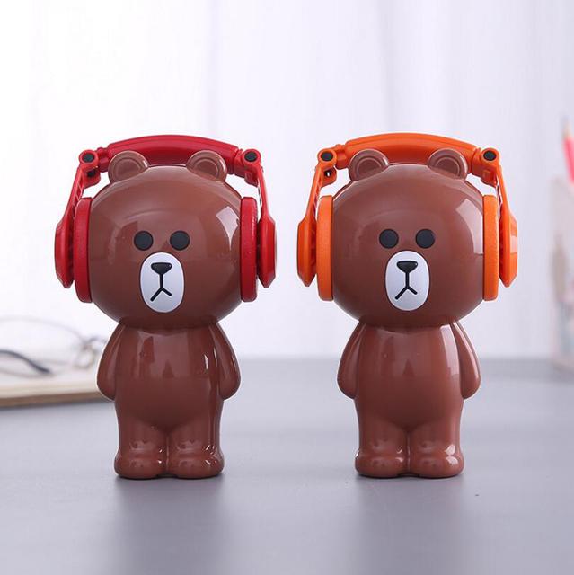 Cute Brown Bear Pencil Sharpener Classic Design Kani Rabbit Student Lovely Hand Crank Mechanical Pencil Sharpener