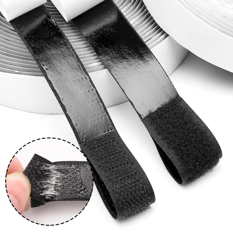 VELCRO 1m Hook And 1m Loop Sticky Glue Back Adhesive Tape 50mm Black Stick On