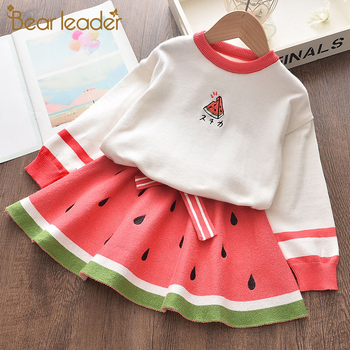 Bear Leader Girls Party Dress New Winter Kids Girl Dresses Long Sleeve Knitted Children Clothing Cute Fruit Pattern Vestido 2pcs fhadst new striped patchwork character girl dresses long sleeve cute mouse children clothing kids girls dress denim kids clothes