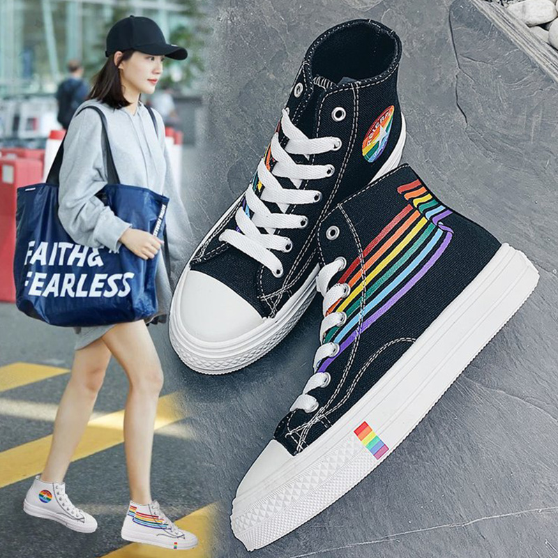 Sport shoes girls sneakers rainbow big size 35-44 casual shoes women unisex sneakers canvas shoes woman vulcan shoes 2019