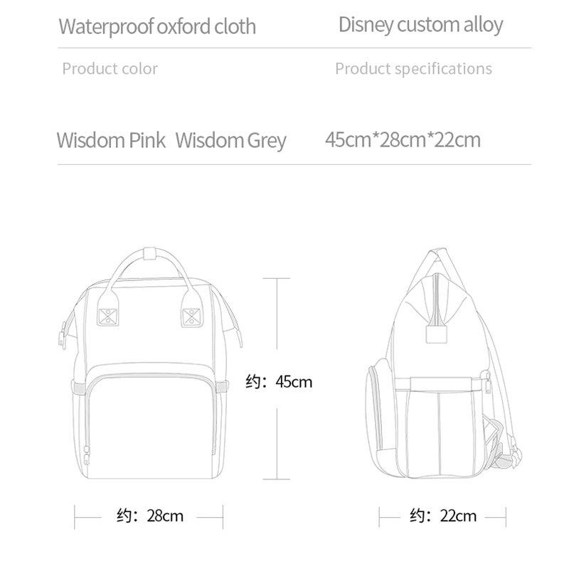 Disney Mickey Minnie USB Diaper Bag Large Capacity Mummy Maternity Nappy Bag Baby Travel Backpack For Baby Care Designer Pink