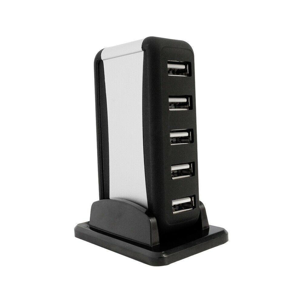 New Vertical 7-port USB 2.0 USB Hub High Speed One Seat Base and Seven Ports USB hub Splitter with Power Supply Black image