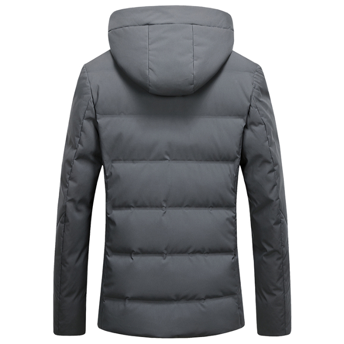 Image 3 - 2019 Long Down Jacket Hooded Men Winter Coat Hat Grey Duck Down Handsome Quality Comfortable Fashion Causal  Warm Outwear