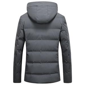 Image 3 - 2019 긴 다운 재킷 후드 남성 겨울 코트 모자 회색 오리 잘 생긴 품질 편안한 패션 인과 따뜻한 outwear