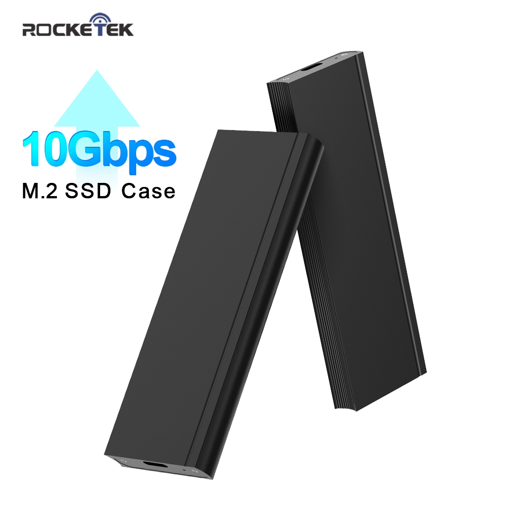 Rocketek M2 SSD Case NVME Enclosure M.2 To USB Type C 3.1 Adapter For NVME PCIE NGFF SATA M/B Key Disk Box M.2 SSD Case