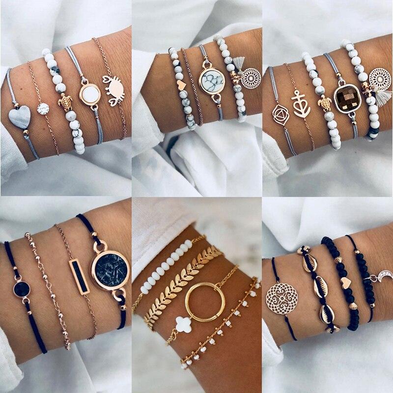 KSRA Bohemian Bracelet Set For Women Geometric Shell Star Map Heart Natural Stone Beads Chain Pendant Bracelet Boho Jewelry 2020