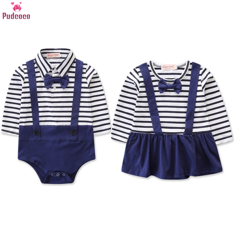 Newborn Infant Baby Girl Boy Navy Blue Striped Bodysuit Romper Cute Jumpsuit Twins Clothes Outfits