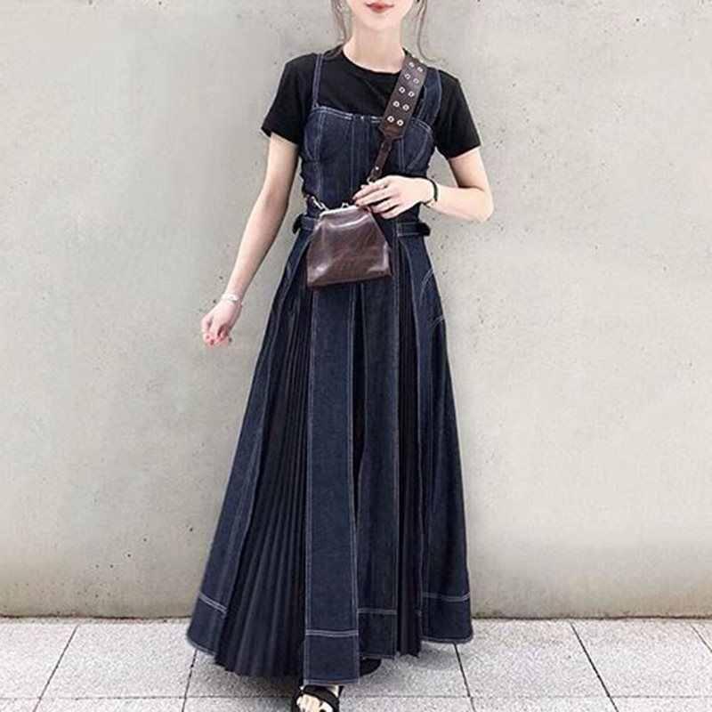 Джинсовое платье для женщин 2019, Осеннее корейское модное повседневное Синее джинсовое длинное плиссированное платье миди, коричневый сарафан-халат vestidos
