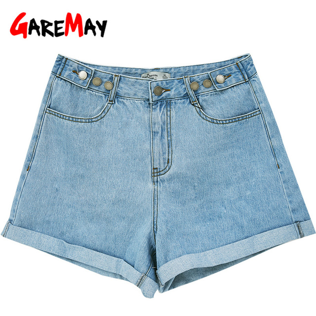 Garemay Women's Denim Shorts Classic Vintage High Waist Blue Wide Leg Female Caual Summer Ladies Shorts Jeans For Women 6
