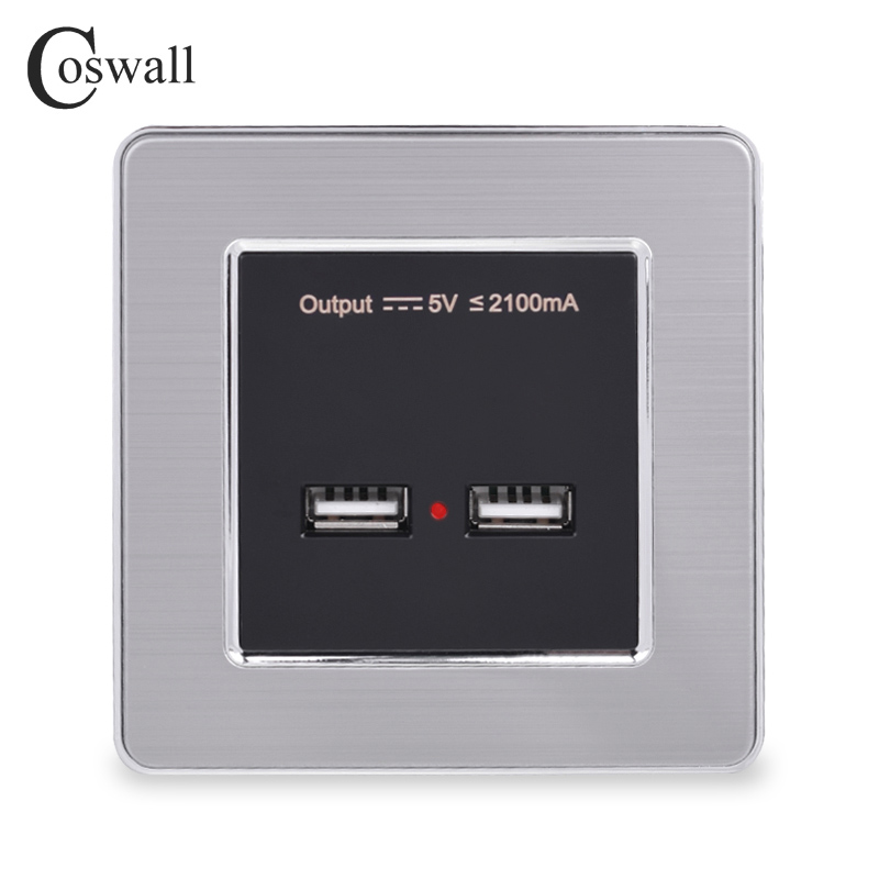 COSWALL Wall Power Socket Dual USB Smart Induction Charging Port For Mobile 5V 2.1A Output LED Indicator Stainless Steel Panel