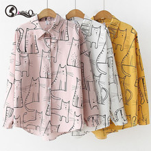 Cotton Blouse Cute Cat Print Loose Casual Ladies Blosues Tops Women Turn Down Co