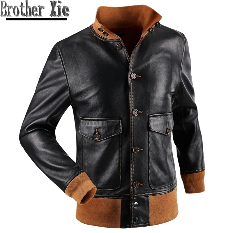 New Men Casual Genuine Leather Coat Luxury Real Leather Aviator Flight Jacket Slim Black High Neck Sheep Leather Jacket Aviation