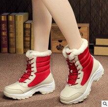 цены women boots winter  snow warm waterproof shoes mid heels lace up short plush pu leather  platform boots c07